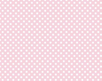 """Riley Blake Designs, Small Dots in Baby Pink (C350 75) - 21"""" remnant"""