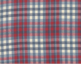 Northport Silky Wovens Blue Red Plaid by Minick & Simpson for Moda Fabrics  (12215 24) - Patriotic Fabric - Plaid Fabric