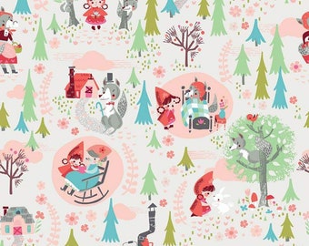 Little Red In The Woods Main Cream SALE (C8080-CREAM) by Jill Howarth - Children's Fabric
