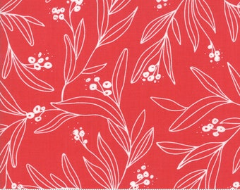 Little Tree by Lella Boutique - Mistletoe - Cranberry (5092 23)  Lella Boutique Little Tree for Moda Fabrics - Christmas Fabric