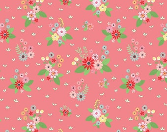 Vintage Keepsakes Floral Pink (C7861-PINK) by Beverly McCullough of Flamingo Toes for Riley Blake Designs.