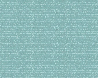 Edie Jane - Love Letter - Teal (C8182 TEAL by Deena Rutter for Riley Blake Designs - Girl Fabric  - Cotton Quilting Fabric