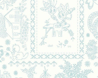 "Lori Holt Granny Chic Wide Back Fabric - 108"" Wide - Embroidery Blue by Lori Holt fabric for Riley Blake Designs (WB8527-BLUE)"