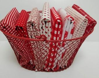 Stitches Half Yard Bundle - Red and White fabrics- (8) Half Yards