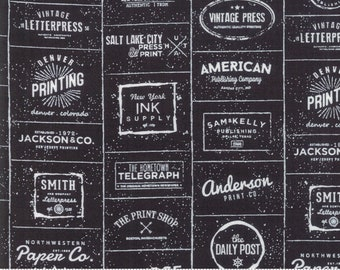 The Print Shop Black Logos Yardage by Sweetwater for Moda Fabrics  (5740 33) - Cut Options Available