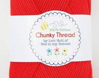 Chunky Red Crocheting Thread, Knitting Thread, Crafting Thread - Lori Holt - 50 g Skein Chunky Thread - Red