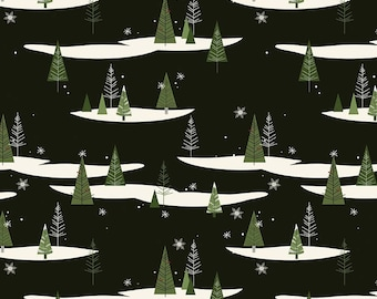 Winterberry - Black Trees - My Mind's Eye - Riley Blake Designs - Christmas Fabric - Cut Options Available (C8441 BLACK)
