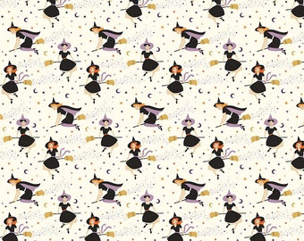 Fab-Boo-Lous Witches - Cream (C8171 CREAM) SALE Fab-boo-lous by Dani Mogstad for Riley Blake Designs - Halloween Quilting Fabric