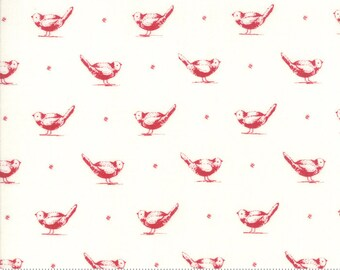 My Redwork Garden Cream and Red Early Birds Yardage by Bunny Hill Designs for Moda Fabrics (2950 13) - Red and White Fabric