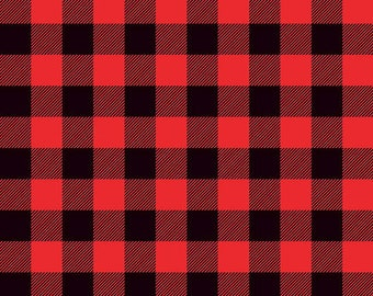 Lumberjack Red &  Black Plaid Designer Knit by Riley Blake Designs -  Jersey KNIT Stretch Fabric - Cut options available (K9176-BLACKRED)