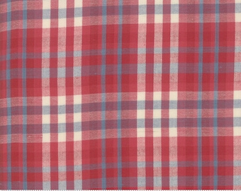 Northport Silky Wovens Red Blue Plaid by Minick & Simpson for Moda Fabrics  (12215 32) - Patriotic Fabric - Plaid Fabric