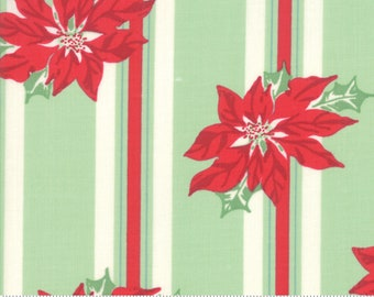 Sweet Christmas - Poinsettia Stripe - Spearmint (31150 14) Urban Chiks Sweet Christmas for Moda - Quilting Fabric - Cut Options Available
