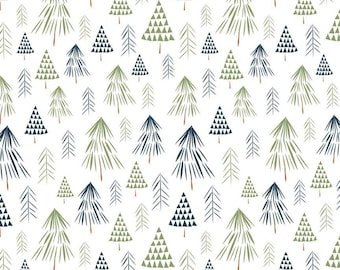 In The Forest White Trees Yardage by Riley Blake Designs (C8951-WHITE)  - Low Volume Fabric - Cut Options Available