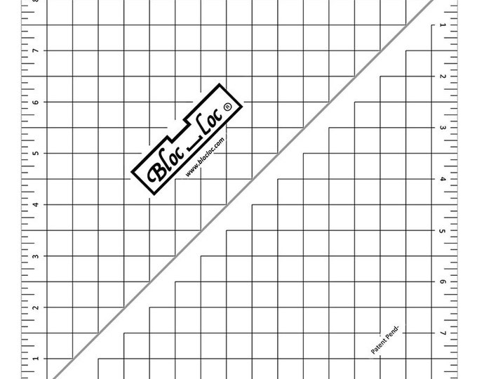"""Bloc-Loc 8.5"""" Inch Ruler - Half Square Triangle Ruler - Square Up Ruler for HST - Quilting Tool"""
