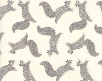 Bramble Cream and Grey Squirrels by Gingiber for Moda Fabrics (48283 21) - Animal Fabric