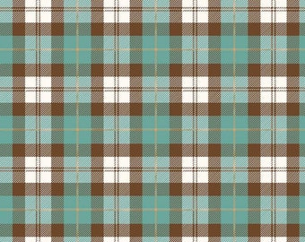 Flannel Plaid Teal/Brown by Riley Blake Designs  - Plaid Flannel Fabric  - Cut Options Available - (F7775-TEAL-BROWN)