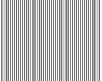 Steel  1/8 Inch Stripe by Riley Blake Designs (C495) - Dark Gray Stripe Fabric - Cut Options Available