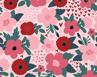 Hello Sweetheart Floral Pink fabric by Echo Park Paper Co. for Riley Blake Designs (C7621-PINK)