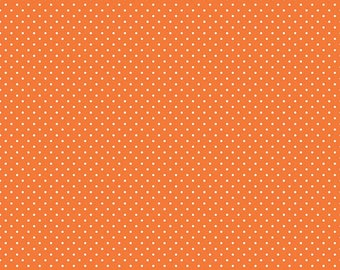 White Swiss Dot on Orange  (C670 60) - Orange Swiss Dot Fabric by Riley Blake Designs - White Swiss Dots on Orange