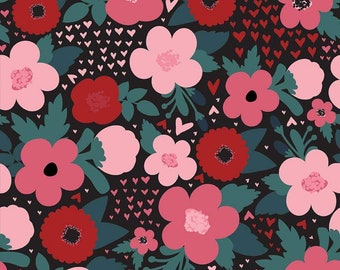 Hello Sweetheart Floral Black fabric by Echo Park Paper Co. for Riley Blake Designs (C7621-BLACK)
