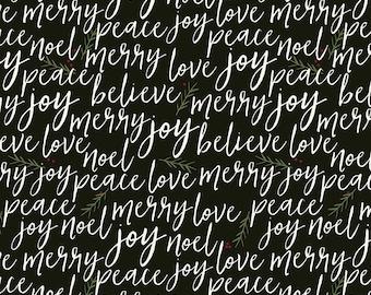 Winterberry - Black Text - My Mind's Eye - Riley Blake Designs - Christmas Fabric - (C8442 BLACK)