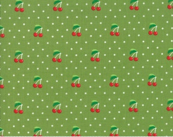 Orchard Cherry Pie - Lime - April Rosenthal Orchard for Moda Fabrics (24074 15)