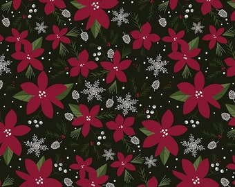 Winterberry - Main Black - My Mind's Eye - Riley Blake Designs - Christmas Fabric - Cut Options Available (C8440 BLACK)