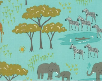 Safari Life Aqua In the Native by Stacy Iest Hsu for Moda Fabrics  (20643 20) - Animal Fabric - Cut Options Available
