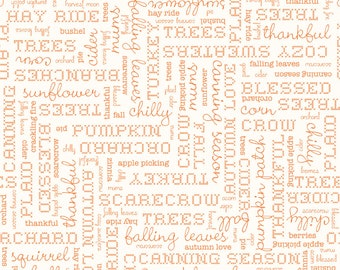 Autumn Love by Lori Holt Text Cream (C7361-CREAM)