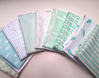 Stitches FQ Bundle - Aqua, Light Blue Fat Quarters SALE - (9) Fat Quarter Bundle - Aqua and White Fabrics - Quilting Cotton Fabric