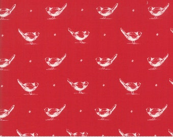My Redwork Garden Red Early Birds Yardage by Bunny Hill Designs for Moda Fabrics (2950 11) - Red and White Fabric