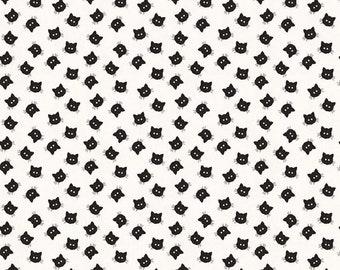 Costume Maker's Ball Scaredy Cat Creamby J. Wecker Frisch Riley Blake Designs - Halloween Fabric - (C8367 CREAM) - Low Volume Cat Fabric