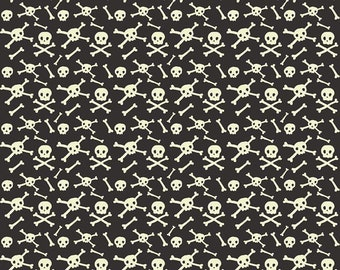 Cats, Bats, and Jacks Black Glow-in-the-dark Skulls by My Mind's Eye for Riley Blake Designs - Halloween Fabric (GC8053 BLACK)