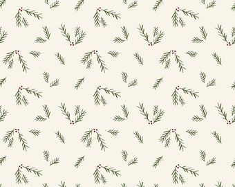 Winterberry - Cream Sprigs - My Mind's Eye - Riley Blake Designs - Christmas Fabric - Cut Options Available (C8447 CREAM)