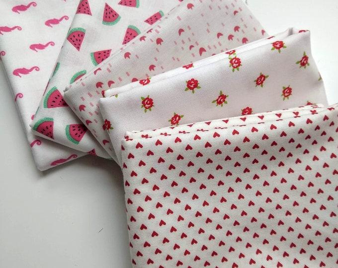 Low Volume Fabrics  Half Yard Bundle - (5) pink and red prints - Fun Low Volume Fabric Bundle