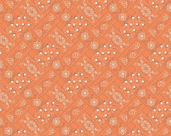 Farm Girl Vintage Bandana Orange by Lori Holt (Bee in My Bonnet) (C7874-ORANGE)