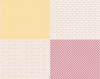 Sew Cherry 2 By Lori Holt Fat Quarter Panel Yellow (FQP5809-Yellow) - SALE - Lori Holt Sew Cherry 2 - CLEARANCE fabric