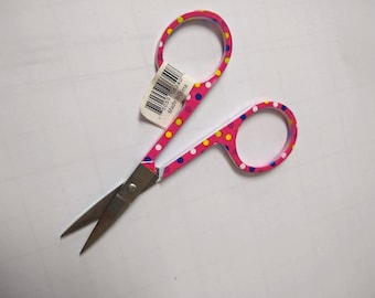 "Pink Polka Dot Embroidery Scissors - 3.5"" big - Small Sewing Scissors"