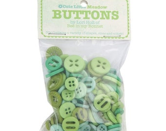 Lori Holt Cute Little Buttons Meadow Assortment -  Contains 30g of Green Buttons