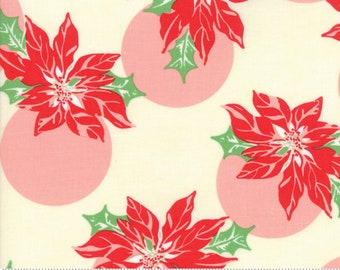 Swell Cream Poinsettia Polka Dot by Urban Chiks for Moda Fabrics  (31121 11)  - Christmas Fabric - Cut Options Available!