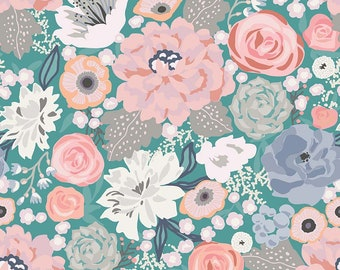 Edie Jane - Main - Teal (C8180 TEAL) by Deena Rutter for Riley Blake Designs - Girl Fabric  - Floral Fabric - Cotton Quilting Fabric