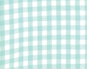 Bonnie and Camille Wovens Aqua Check for Moda Fabrics  (12405 15) - Gingham Aqua Fabric - Woven Fabric  - Aqua Check Fabric