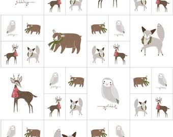 Gingiber Merriment Multi Critters Galore Panel  for Moda (48271 11)