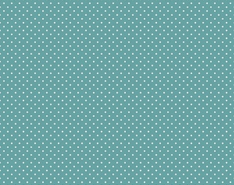 White Swiss Dot On Teal by Riley Blake Designs  (C670 Teal) - Cut Options Available