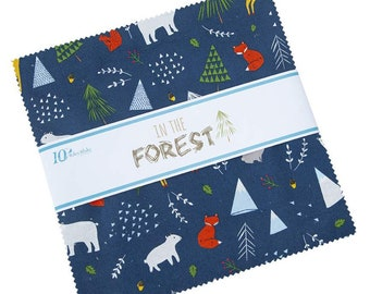 """In The Forest 10"""" Stacker (42 pieces) by Riley Blake Designs (10-8950-42) - Layer Cake - Boy Fabric"""