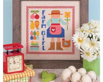 Happy Farm Girl Cross Stitch Pattern by Lori Holt for It's Sew Emma- New Lori Holt Cross Stitch Pattern - Bee in My Bonnet