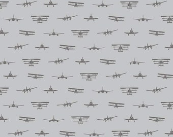 Airplanes Silhouette Gray - Riley Blake Designs -  Jersey KNIT Cotton Lycra Stretch Fabric - Cut options available