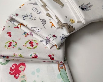 Low Volume Fabrics  Half Yard Bundle - (5) character prints - Fun Low Volume Fabric Bundle: mermaids, astronauts, red riding hood, animals
