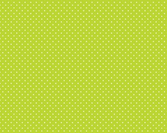 Riley Blake Designs, White Swiss Dot on Lime  (C670 32)