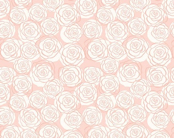 "Bliss Blush Sparkle Roses by My Mind's Eye for Riley Blake Designs (SC8162-BLUSH) - 16"" remnant"